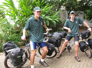 It all started in 2012 with Alex Antrobus ( left ) and Murray Beaumont who cycled from Joburg to Uganda and then onto Kenya wearing the RFCG brand name with great pride