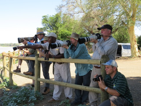 Frank Mabasa ( center ) pointing out a variety of fire finch species that could be seen at Crooks corner near the Pafuri picnic spot in the Kruger National Park. Photo Eelco Meyjes