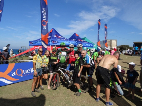 The RFCG brandname is seen at the finish line of the recent 900km joBerg2c mtb race. Photo Mike van Duyn