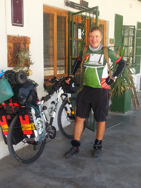 Eelco Meyjes carries 35kg of kit. You can follow the ride on satellite