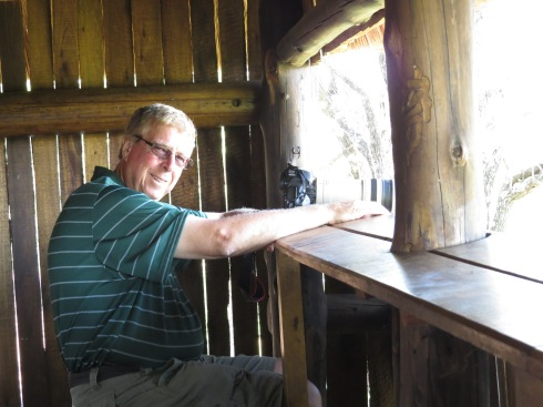 Russell Kingston at the bird hide in Punda Maria. Kruger National Park. 2013. Photo Eelco Meyjes