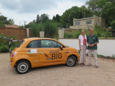 Dr. Hanneline Smit-Robinson from BirdLife South Africa and Eelco Meyjes from the RFCG seen next to the small is BIG FIAT 500